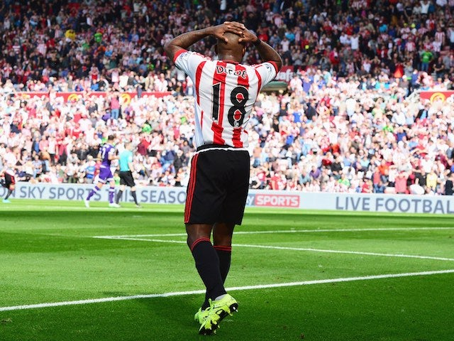 Sunderland's Jermain Defoe reacts to a missed chance during the game with Spurs on September 13, 2015