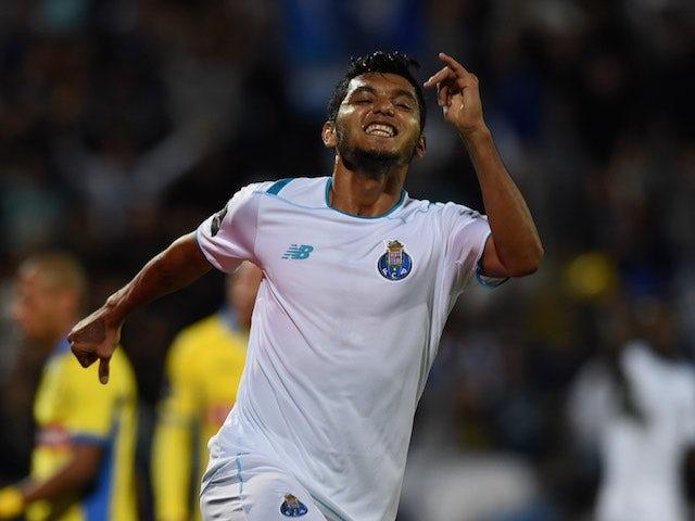 Jesus Corona celebrates scoring for Porto against Arouca on September 12, 2015