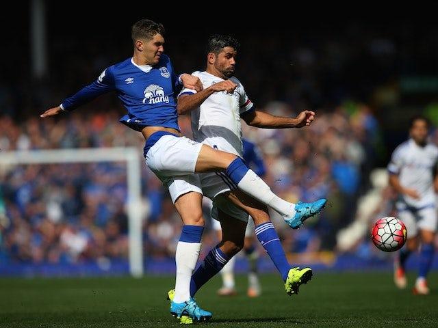 Everton's John Stones takes on Diego Costa of Chelsea on September 12, 2015