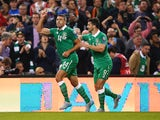 Jonathan Walters of the Republic of Ireland (14) celebrates with Shane Long (9) as he scores their first goal during the UEFA EURO 2016 Group D qualifying match between Republic of Ireland and Georgia at Aviva Stadium on September 7, 2015 in Dublin, Irela