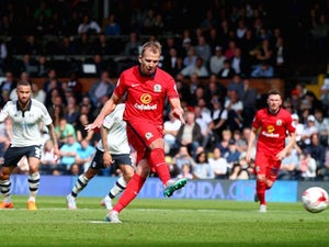 Blackburn's Jordan Rhodes scores from the penalty spot against Fulham on September 13, 2015