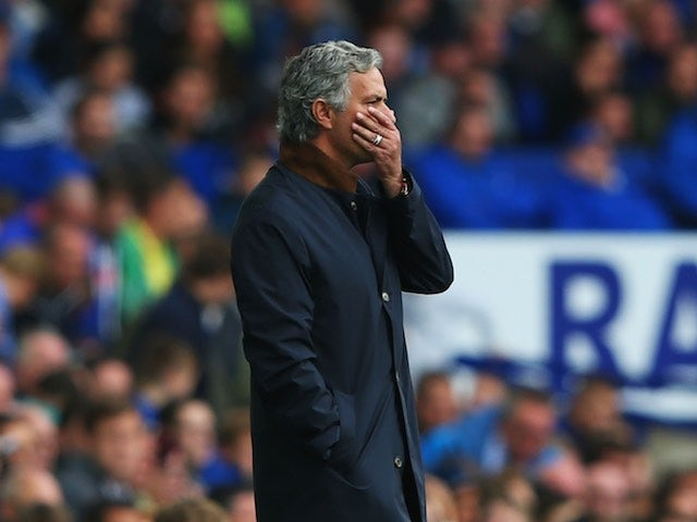 Jose Mourinho holds his face in horror during the game between Chelsea and Everton at Goodison Park on September 12, 2015