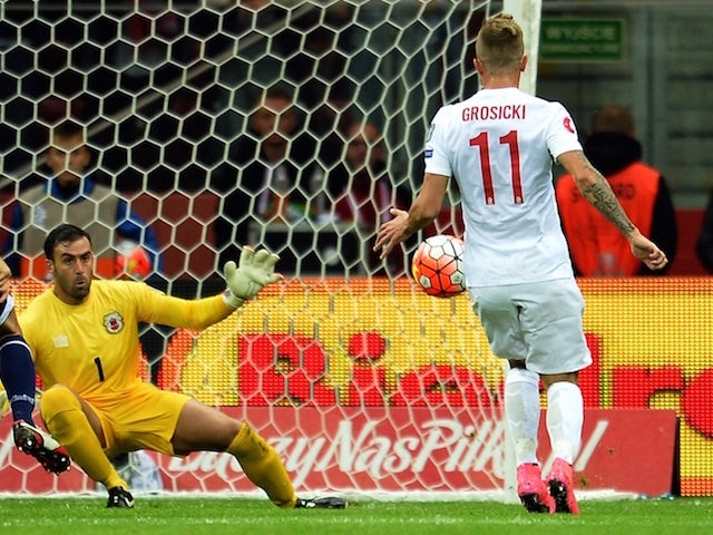 Poland's Kamil Grosicki scores a goal past Gibraltar's goalkeeper Jordan Perez (L) during the UEFA Euro 2016 qualifying football match between Poland and Gibraltar, in Warsaw, Poland on September 7, 2015.