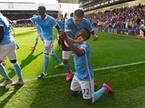 Kelechi Iheanacho celebrates scoring the winner for Man City against Palace on September 12, 2015