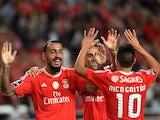 Benfica's Konstantinos Mitroglou celebrates scoring against Belenenses on September 11, 2015