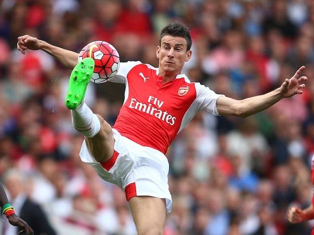 An acrobatic Laurent Koscielny in action for Arsenal against Stoke on September 12, 2015