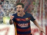 Lionel Messi celebrates scoring to put Barcelona 2-1 up over Atletico Madrid on September 12, 2015