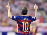 Lionel Messi celebrates scoring the winner for Barcelona against Atletico Madrid on September 12, 2015