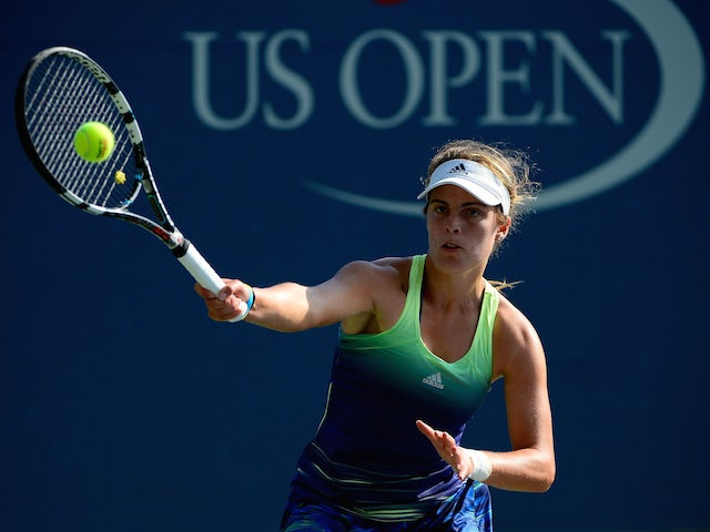 Maia Lumsden of Great Britain returns a shot against Anna Kalinskaya of Russia Junior Girls' Singles First Round match on Day Seven of the 2015 US Open at the USTA Billie Jean King National Tennis Center on September 6, 2015 in the Flushing neighborhood o