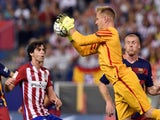 Barca keeper Marc-Andre Ter Stegen makes a save during the game with Atletico Madrid on September 12, 2015