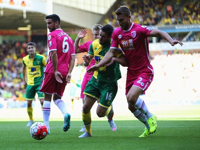 Norwich's Matt Jarvis is challenged by Simon Francis of Bournemouth on September 12, 2015