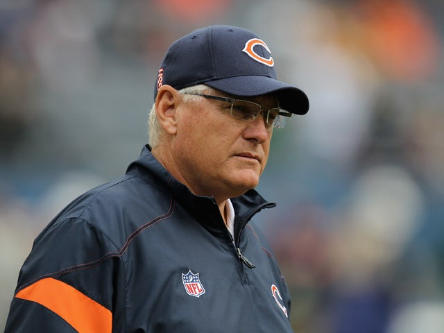 Offensive coordinator Mike Martz of the Chicago Bears watches warm-ups before a game against the Green Bay Packers at Soldier Field on September 25, 2011