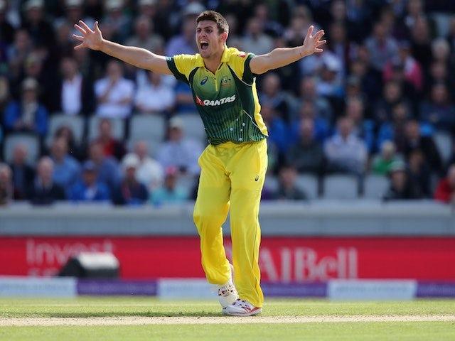 Mitchell Marsh celebrates taking the wicket of Ben Stokes on September 13, 2015