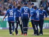 An assortment of happy England players, including Moeen Ali, during the ODI with Australia on September 11, 2015