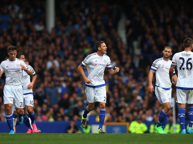 Nemanja Matic celebrates pulling one back for Chelsea against Everton on September 12, 2015