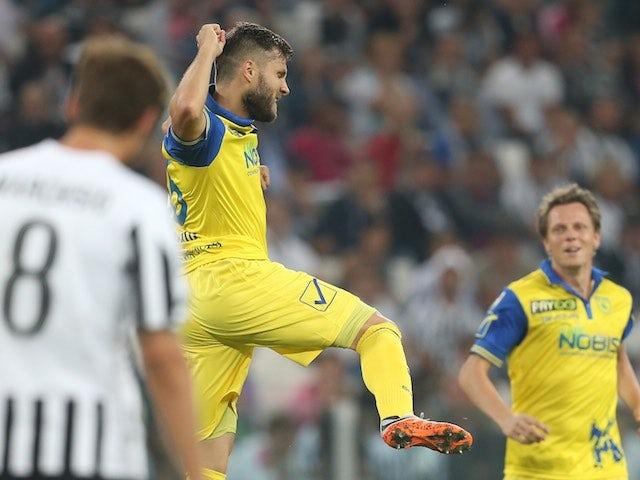 Perparim Hetemaj celebrates scoring for Chievo against Juventus on September 12, 2015