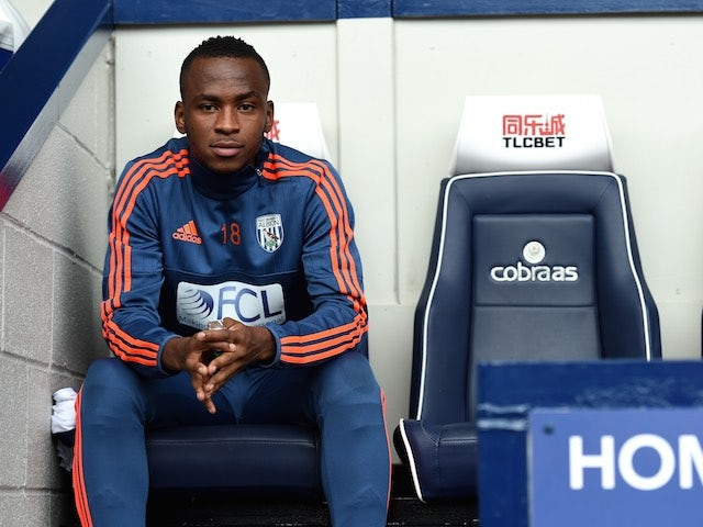 Saido Berahino sits on the bench during the game between West Brom and Southampton on September 12, 2015