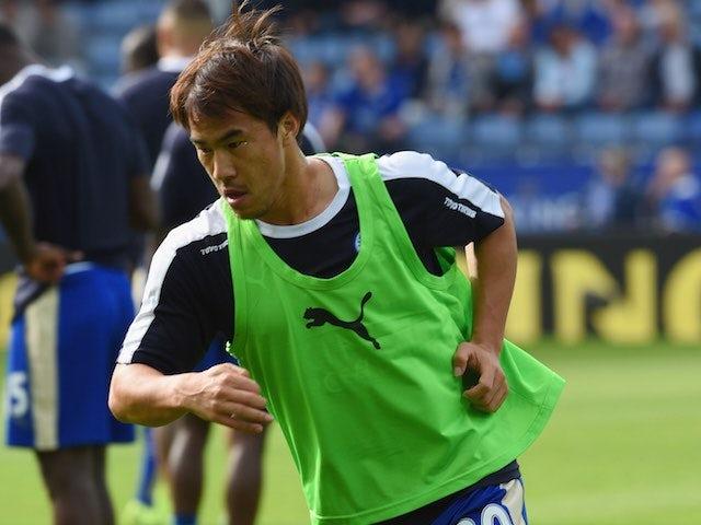 Leicester's Shinji Okazaki warms up prior to the game with Aston Villa on September 13, 2015