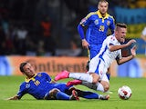 Slovakia's Robert Mak vies with Ukraine's Serhiy Rybalka during the Euro 2016 qualifying football match between Slovakia and Ukraine at the MSK stadium in Zilina, Slovakia on September 8, 2015