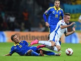 Slovakia's Robert Mak vies with Ukraine's Serhiy Rybalka during the Euro 2016 qualifying football match between Slovakia and Ukraine at the MSK stadium in Zilina, Slovakia on September 8, 2015