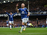 Steven Naismith celebrates scoring the opener for Everton against Chelsea on September 12, 2015