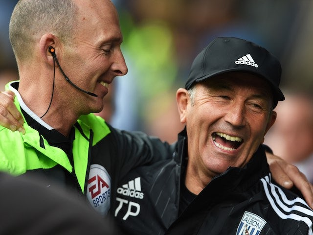 West Brom boss Tony Pulis has a right old laugh with Mike Dean ahead of the game with Southampton on September 12, 2015