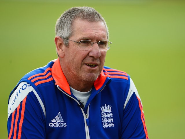 England coach Trevor Bayliss looks on during an England training session at Ageas Bowl on September 2, 2015 in Southampton, England.
