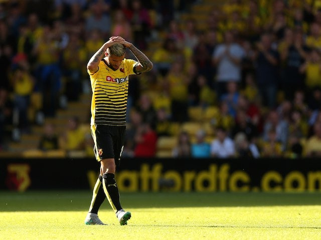 Watford's Valon Behrami sees red during the game with Swansea on September 12, 2015