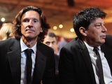 Former Russian goalkeeper Rinat Dasaev (R) and former Russian midfielder Alexei Smertin attend the preliminary draw for the 2018 World Cup qualifiers at the Konstantin Palace in Saint Petersburg on July 25, 2015.