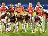 Arsenal's players pose for a team picture ahead of the UEFA Champions League Group F football match between GNK Dinamo Zagreb and Arsenal FC at Maksimir Stadium in Zagreb on September 16, 2015
