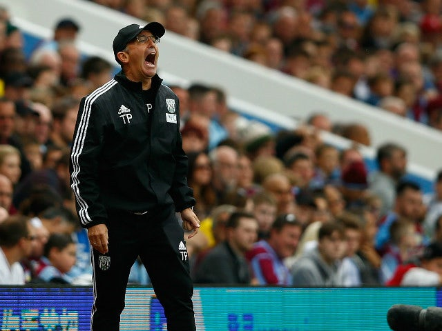 Tony Pulis manager of West Bromwich Albion gestures during the Barclays Premier League match between Aston Villa and West Bromwich Albion at Villa Park on September 19, 2015 in Birmingham, United Kingdom.