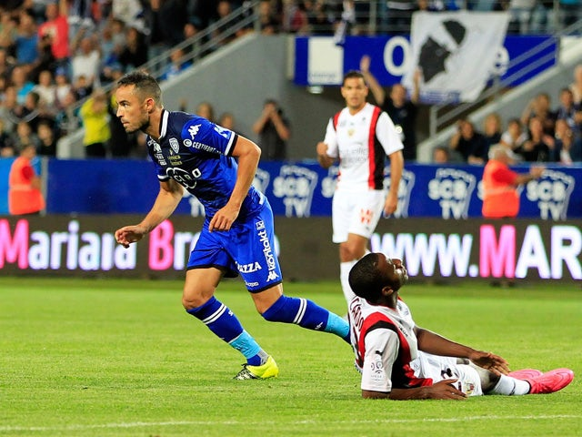 Bastia's French midfielder Gael Danic celebrates after scoring a goal during the French L1 football match Bastia (SCB) against Nice (OGCN) on September 19, 2015