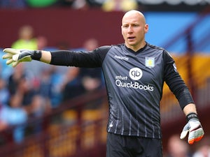 Brad Guzan of Aston Villa in action during the Barclays Premier League match between Aston Villa and Sunderland at Villa Park on August 29, 2015