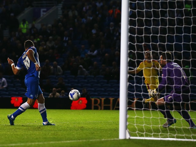 Tomer Hemed of Brighton & Hove Albion scores during the Sky Bet Championship match between Brighton & Hove Albion and Rotherham United at Amex Stadium on September 15, 2015