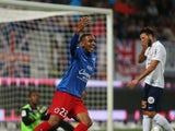 Caen's French forward Ronny Rodelin celebrates his goal during the French L1 football match between Stade Malherbe de Caen (SMC) and Montpellier (MHSC) on September 19, 2015