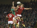 Canada's wing Jeff Hassler (R) jumps for the ball during a Pool D match of the 2015 Rugby World Cup between Ireland and Canada at the Millenium stadium in Cardiff, south Wales on September 19, 2015.