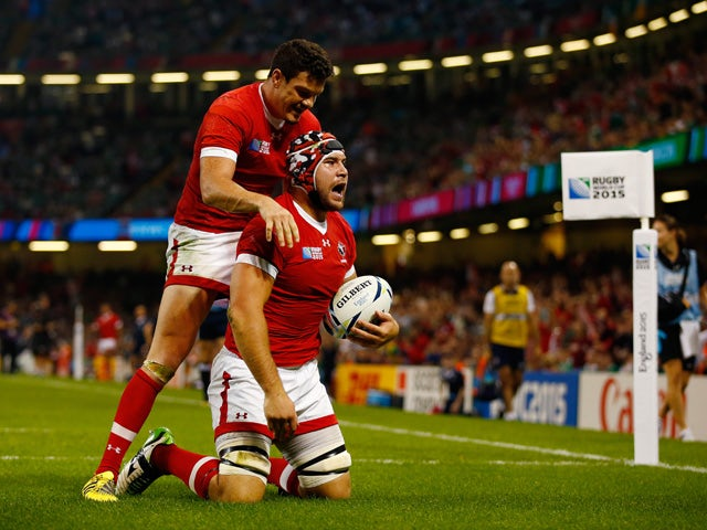 Jebb Sinclair of Canada scores a try which is later diallowed by the referee during the 2015 Rugby World Cup Pool D match between Ireland and Canada at the Millennium Stadium on September 19, 2015