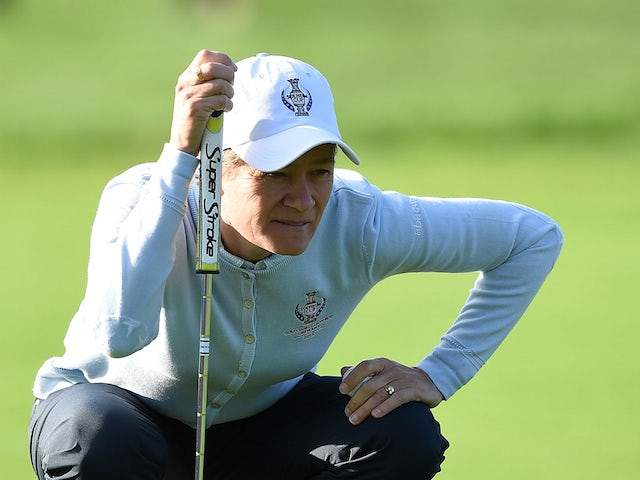 Catriona Matthew of the European Team lines a put during the afternoon fourball matches on day one of the Solheim Cup 2015 at St Leon-Rot Golf Club on September 18, 2015 in Sankt Leon-Rot, Germany.