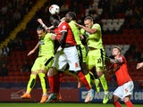 Naby Sarr of Charlton scores Charlton's first goal during the Sky Bet Championship match between Charlton Athletic and Huddersfield Town at The Valley on September 15, 2015