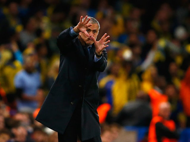 Manager Jose Mourinho of Chelsea reacts on the touchline during the UEFA Chanmpions League group G match between Chelsea and Maccabi Tel-Aviv FC at Stamford Bridge on September 16, 2015