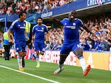Kurt Zouma of Chelsea celebrates scoring his team's first goal during the Barclays Premier League match between Chelsea and Arsenal at Stamford Bridge on September 19, 2015