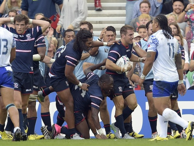 The USA's Chris Wyles celebrates scoring a try during the Rugby World Cup game with Samoa on September 20, 2015