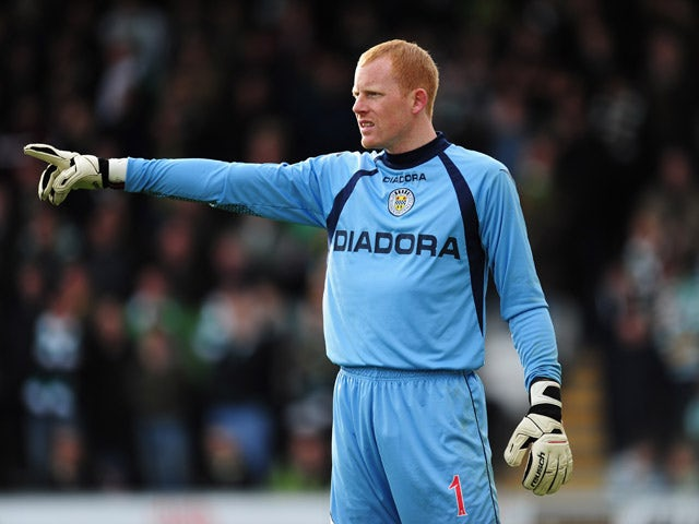 St Mirren goalkeeper Craig Samson in action during the Clydesdale Bank Scottish Premier League match between St Mirren and Celtic at St Mirren Park on October 20, 2012