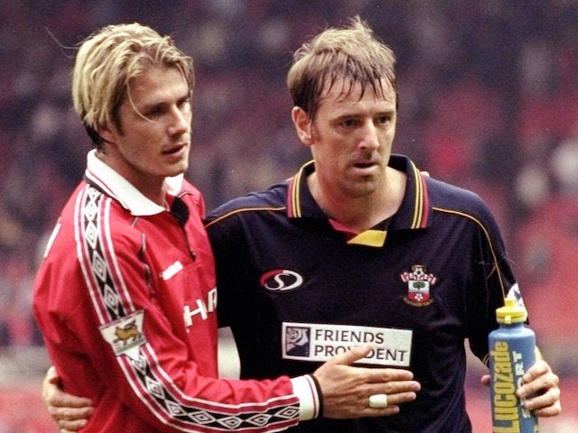 David Beckham of Manchester United and Matt Le Tissier of Southampton during the FA Carling Premiership match played at OLd Trafford in Manchester, England. The game ended in a 3-3 draw.