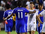Didier Drogba greets Steven Gerrard during the MLS match between LA Galaxy and Montreal Impact on September 12, 2015