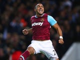 Dimitri Payet celebrates scoring his second for West Ham against Newcastle on September 14, 2015