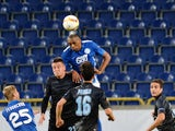 FC Dnipro's Douglas (R) vies with Lazio's Sergej Milinkovic-Savic (L) during the UEFA Europa League Group G football match between Dnipro Dnipropetrovsk and Lazio Rome at Dnipro-Arena in Dnipropetrovsk on September 17, 2015