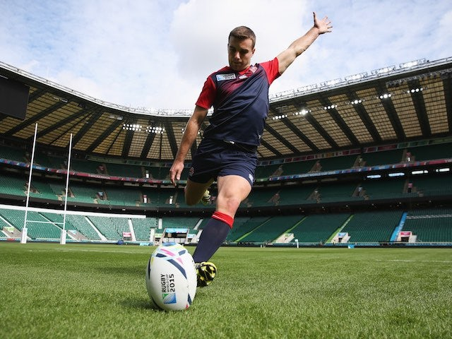England fly-half George Ford kicks the ball at Twickenham ahead of the Rugby World Cup on September 17, 2015