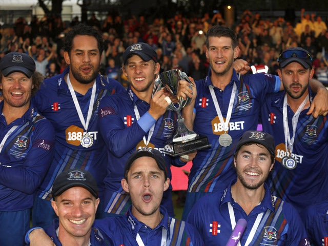 Players from the victorious Gloustershire team parade the trophy after the Royal London One-Day Cup Final between Surrey and Gloustershire at Lord's Cricket Ground on September 19, 2015