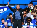 Jose Mourinho Manager of Chelsea gestures during the Barclays Premier League match between Chelsea and Arsenal at Stamford Bridge on September 19, 2015